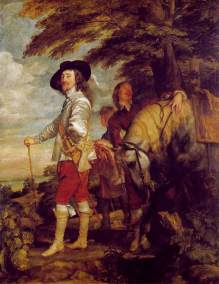 Le Roi à la chasse - is an oil-on-canvas portrait of Charles I of England by Anthony van Dyck c.1635. This Flemish baroque painting is a full length standing portrait of Charles I. The king is taking a rest from hunting as the Thames River runs in the background. Van Dyck uses iconography, the use of symbols, to show the king's status. The king is wearing a teardrop earring which was a sign of being a gentleman. His clothes look expensive and luxurious to depict his wealth. There is tenebrism as the king stands in a spotlight and the figures in the back are in the dark. His hand lies on his hip as he holds a walking stick to depict his confidence. This painting shows absolutism and propaganda to show his divine right to rule.