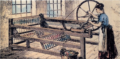Hargreaves's spinning-jenny. This is a later version of the Spinning Jenny, with the main wheel switched from the horizontal to the vertical to make operation easier.