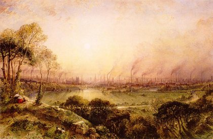 Manchester from Kersal Moor William Wylde (1857). Queen Victoria was becoming an admirer of Wyld's work and commissioned him to paint a number of paintings for her, which remain in the royal collection to this day. Wyld's view of Manchester is overtly romantic. The smoking chimneys serve only to accentuate the golden light of the setting sun, and the rustics and goats in the foreground are reminiscent of the views of Italy produced in great numbers by the English watercolourists of the previous half-century.