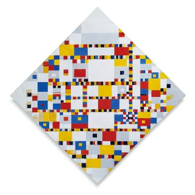 Victory Boogie-Woogie, a painting that Mondrian conceived in expectation of victory in World War II and that remained unfinished by reason of his death on February 1, 1944.