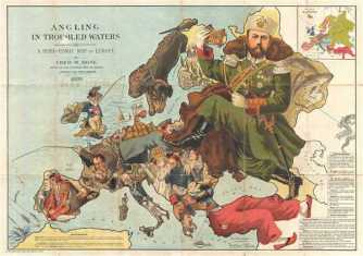 1899 Fred Rose Serio-Comic Map of Europe: Angling in Troubled Waters.