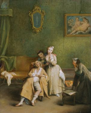 Pietro Longhi (1701–1785), The Tickle circa 1755 oil on canvas.