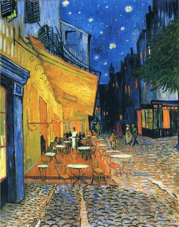 Café Terrace at Night is an 1888 oil painting by the Dutch artist Vincent van Gogh.