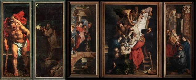 Το τρίπτυχο για Αγία Τράπεζα του Rubens «The Descent From the Cross» (1611 – 1614) και η απεικόνιση του Αγίου Χριστόφορου στο εξωτερικό πλαίσιο όταν το τρίπτυχο είναι κλειστό που βρίσκονται στον Καθεδρικό Ναό « Cathedral of Our Lady» στην Antwerp.