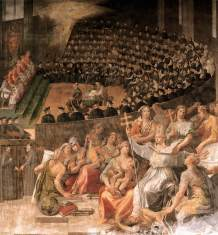 The Council of Trent 1588 Fresco Santa Maria in Trastevere, Rome. This fresco was painted by Pasquale Cati da Iesi, a pupil of Michelangelo.