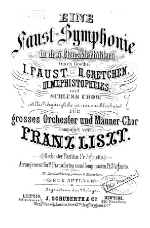 """A Faust Symphony in three character pictures (German: Eine Faust-Symphonie in drei Charakterbildern), S.108, or simply the """"Faust Symphony"""", was written by Hungarian composer Franz Liszt and was inspired by Johann Wolfgang von Goethe's drama, Faust. The symphony was premiered in Weimar on September 5, 1857, for the inauguration of the Goethe–Schiller Monument there."""